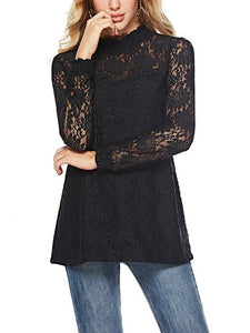 [Quality] Half-High Collar Long-Sleeved Loose Lace Top-BelleChloe-o1o.store