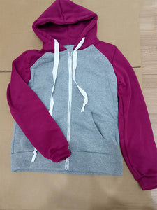 2018 Autumn And Winter Outerwear Baseball Uniform Female Sweater Colorblock Hooded Drawstring Fashion-o1o.store-o1o.store