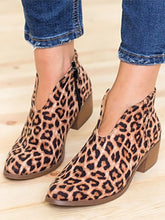 Load image into Gallery viewer, Leopard Pattern Autumn Winter Ankle Boots Chunky Boots-BelleChloe-o1o.store