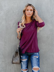 Fashion Women Summer long Sleeve Shirt Round Neck Loose Casual Solid Tee-BelleChloe-o1o.store