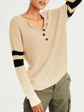 Load image into Gallery viewer, Round Neck Button Comfort Sweater-BelleChloe-o1o.store