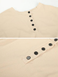 Round Neck Button Comfort Sweater-BelleChloe-o1o.store
