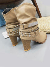 Load image into Gallery viewer, Fashionable Rivet Buckle High-Heel Middle Boots-BelleChloe-o1o.store