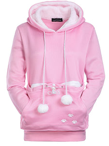 Autumn And Winter Holding Cat Kangaroo Pocket Big Pocket Hooded Plus Velvet Thicken Girl Sweater-o1o.store-o1o.store