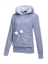 Load image into Gallery viewer, Autumn And Winter Holding Cat Kangaroo Pocket Big Pocket Hooded Plus Velvet Thicken Girl Sweater-o1o.store-o1o.store