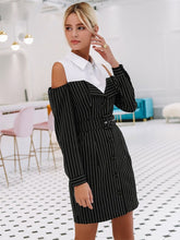 Load image into Gallery viewer, Elegant Fake Two Piece Stripe Office Lady Dress-BelleChloe-o1o.store