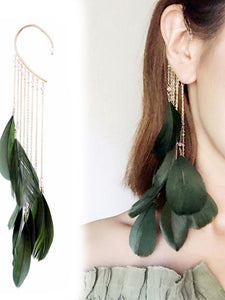 Bohemia Folk Feather Green Earring-BelleChloe-o1o.store