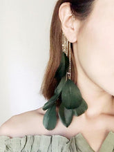 Load image into Gallery viewer, Bohemia Folk Feather Green Earring-BelleChloe-o1o.store