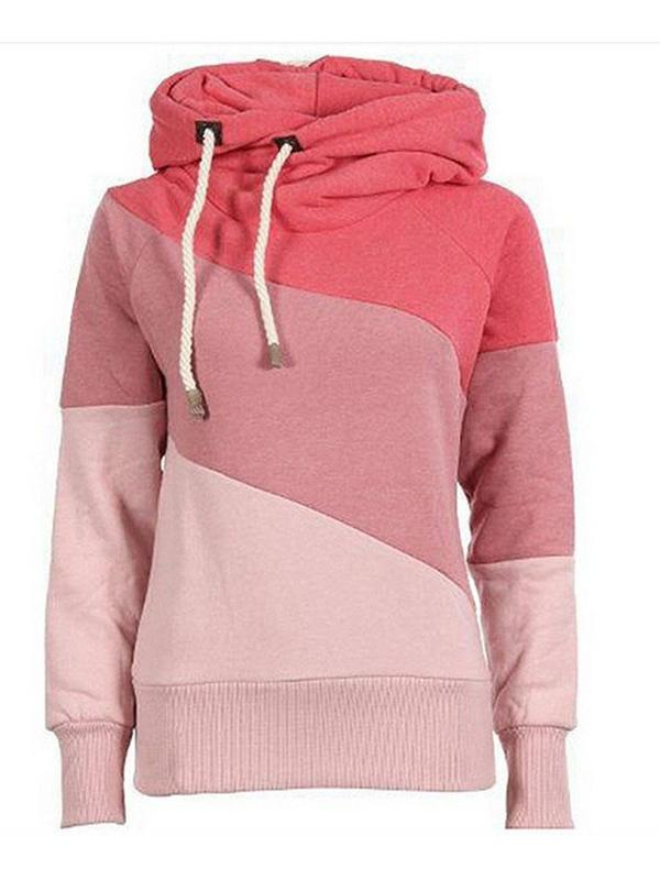 Contrast Color Hooded Velvet Thick Sweatshirt-BelleChloe-o1o.store