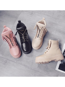 New PU Leather Ankle Boots Women Fall Winter Flat Platform Shoes-BelleChloe-o1o.store