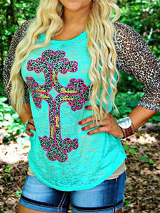 Leopard Print Three Quarter Sleeve T-shirts-BelleChloe-o1o.store