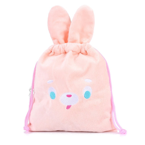 Pink rabbit ear cartoon embroidery small plush tote bag