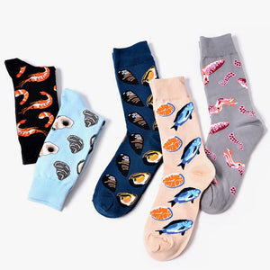 Personality Funny Seafood Jacquard Short Cotton Ankle Kapron Couple Socks-BelleChloe-o1o.store
