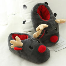 Load image into Gallery viewer, Christmas Deer Winter Flock Plush Warm Indoor Floor Cotton Slippers-BelleChloe-o1o.store