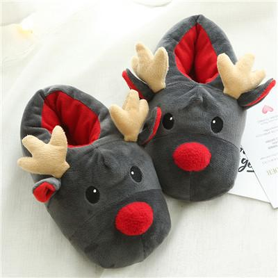 Christmas Deer Winter Flock Plush Warm Indoor Floor Cotton Slippers-BelleChloe-o1o.store