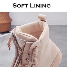 Load image into Gallery viewer, New PU Leather Ankle Boots Women Fall Winter Flat Platform Shoes-BelleChloe-o1o.store