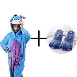 Kids Blue Donkey Pajama Anime Cosplay Costume Flannel Warm Sleepwear Suit-BelleChloe-o1o.store