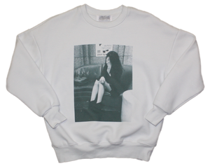 WHITE SWEATSHIRT WITH FRONT & BACK PRINT