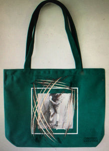 GREEN TOTE WITH FRONT AND BACK PRINT