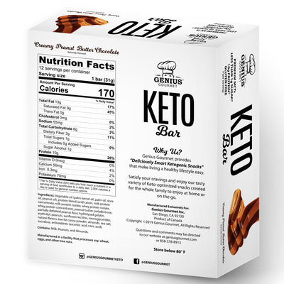 Keto Bars - Creamy Peanut Butter Chocolate (12 Keto Bars)