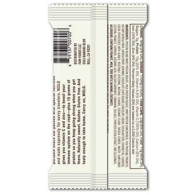 WOLO Wanderbar® Cocoa Crisp / Frequent Flyer Protein Bar (back)