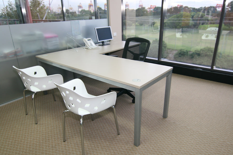 l shaped office desk and chairs