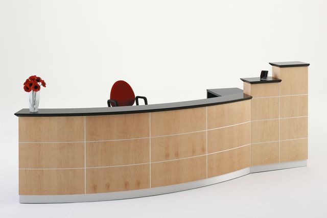 H9000 NATURAL TIMBER VENEER ACCENT RECEPTION DESK