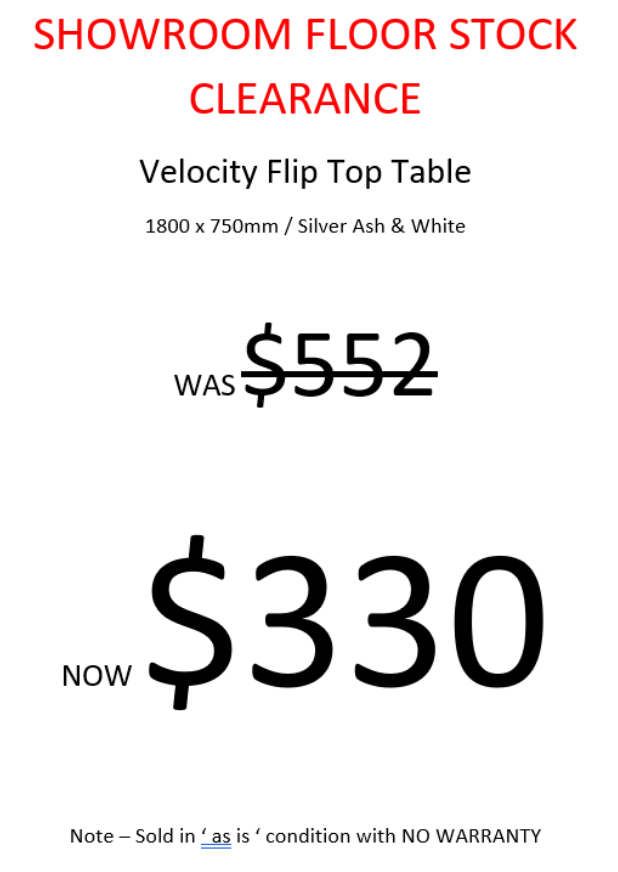 SHOWROOM CLEARANCE STOCK  -  C-FLIP FOLDING TABLE