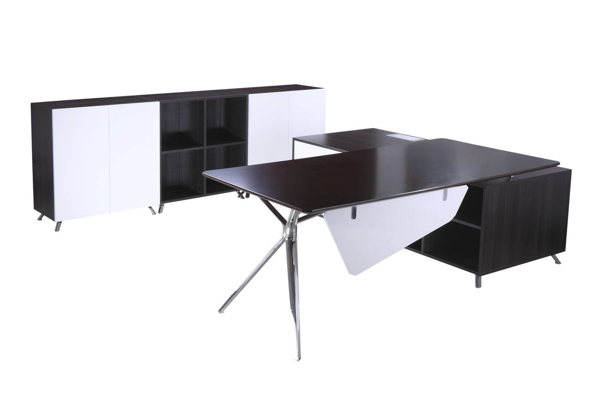 FORZA EXECUTIVE DESK WITH RETURN / COFFEE TABLES *** 10 WEEK LEAD TIME ON WALNUT & WHITE DESKTOPS ***