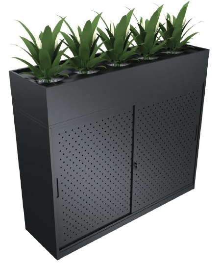 AUSFILE SLIDING DOOR CABINET WITH OPTIONAL PLANTER BOX