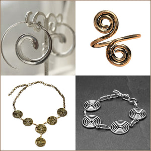 OMishka collection of spiral designed nickel free silver and brass jewellery.
