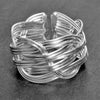 An adjustable, chunky, artisan handmade, open braided solid silver ring designed by OMishka.