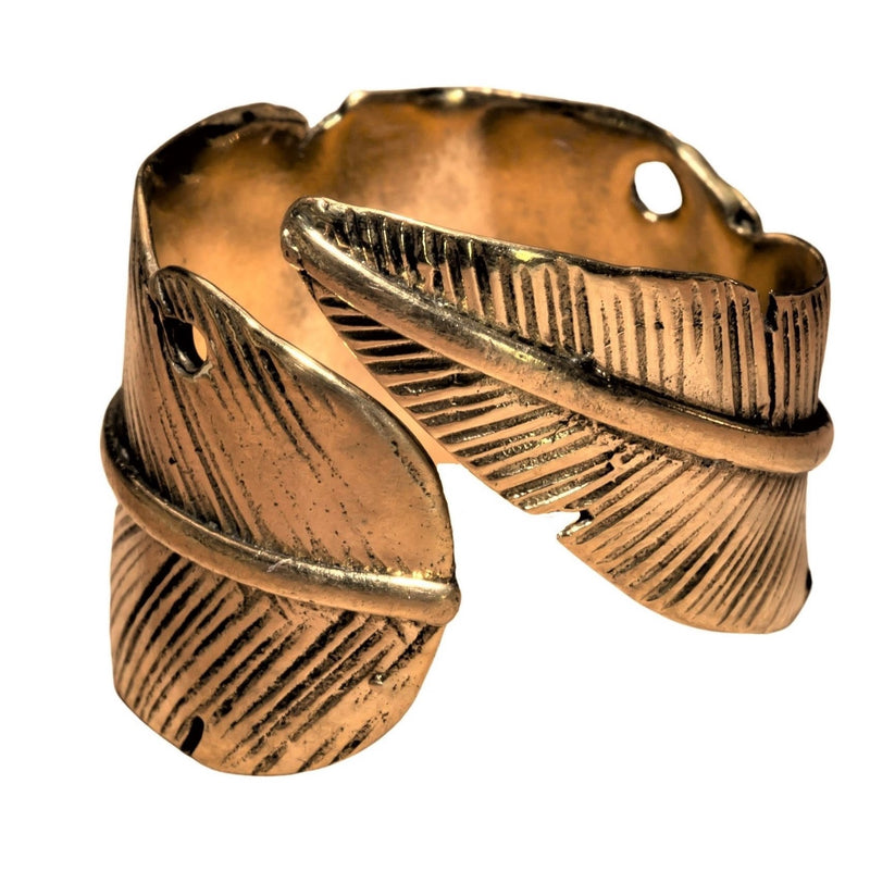 Pure Brass Feather Wrap Ring