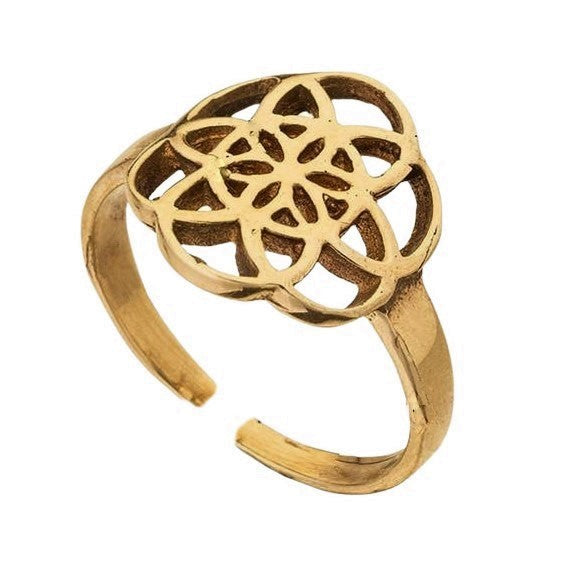 An adjustable, nickel free pure brass, dainty seed of life ring designed by OMishka.
