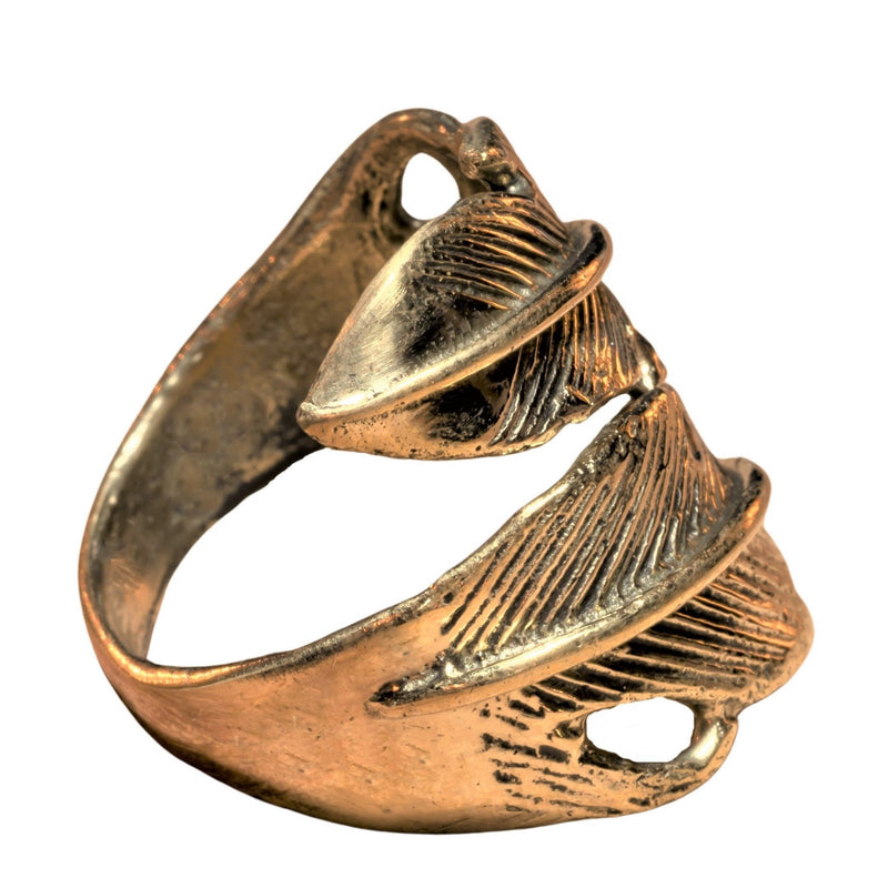 An adjustable, handmade pure brass, chunky double feather wrap ring designed by OMishka.