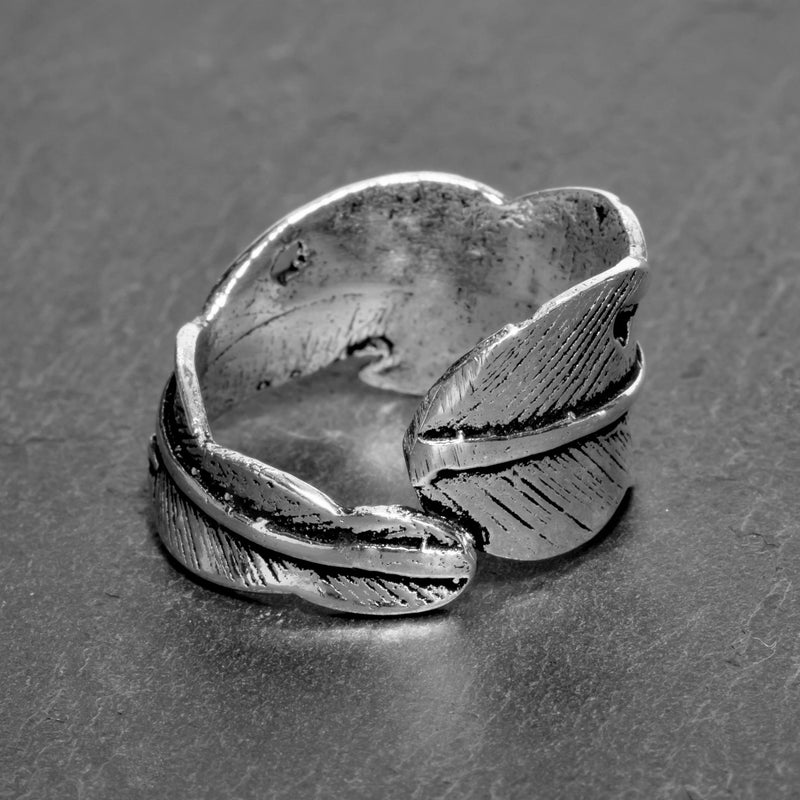 Silver Feather Wrap Ring