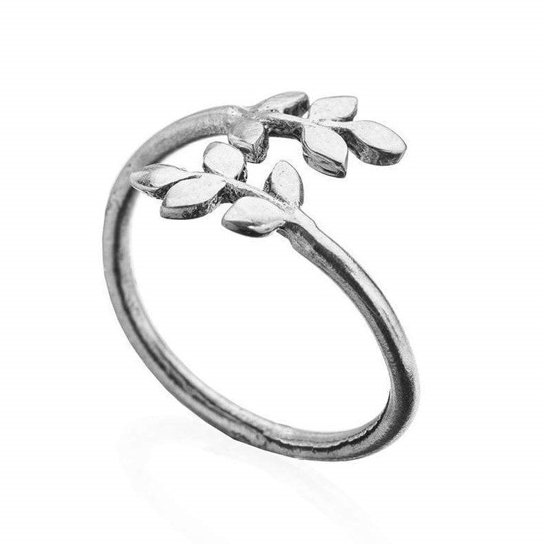 An adjustable, handmade solid silver, dainty laurel leaf wrap ring designed by OMishka.
