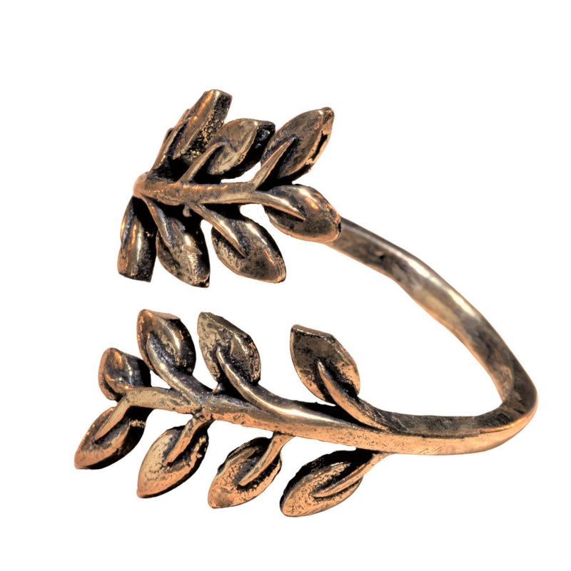 An adjustable, nickel free pure brass, olive branch wrap ring designed by OMishka.