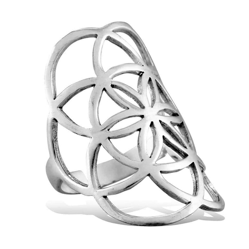An adjustable, nickel free solid silver seed of life ring designed by OMishka.
