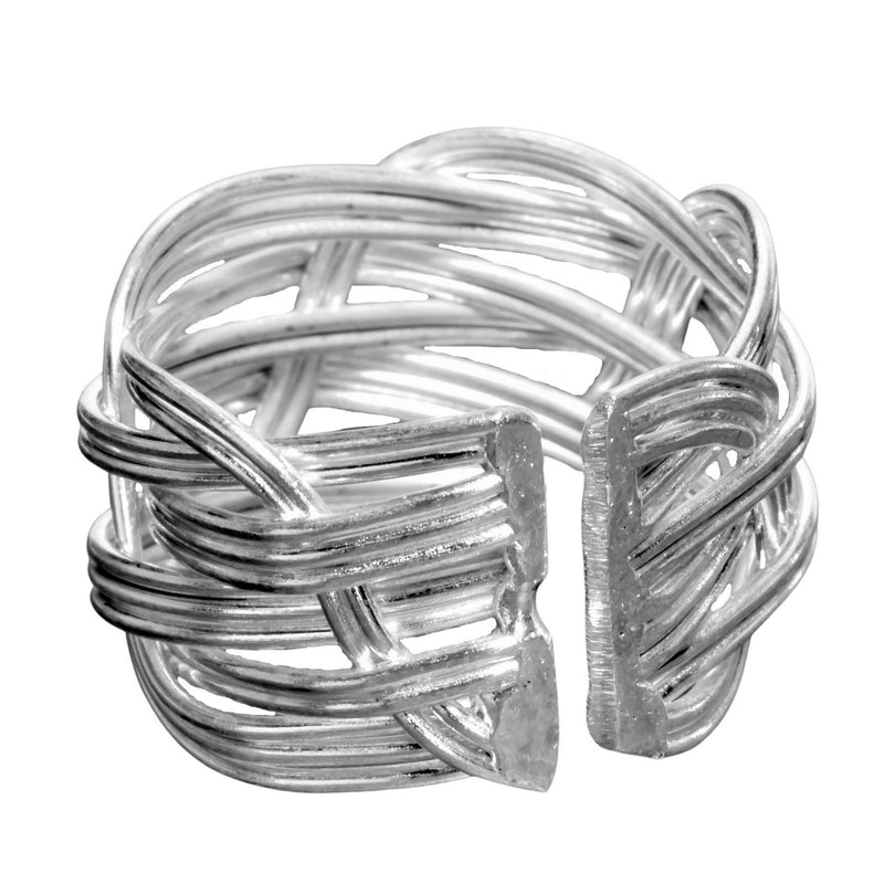 An adjustable, chunky, open weave plaited solid silver ring designed by OMishka.