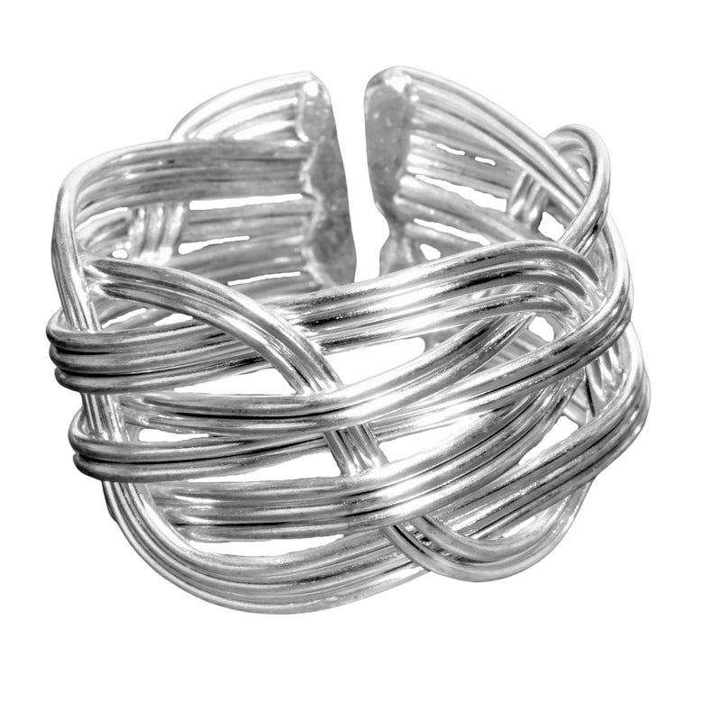 An adjustable, chunky, open weave solid silver ring designed by OMishka.