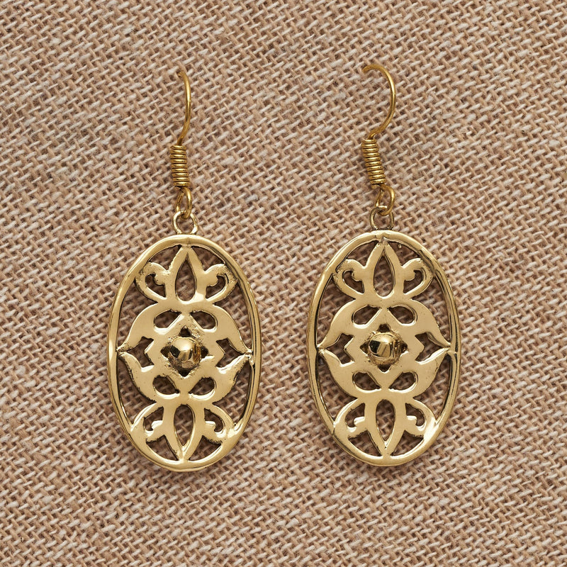 Artisan handmade pure brass. art nouveaux floral detailed, dangle earrings designed by OMishka.