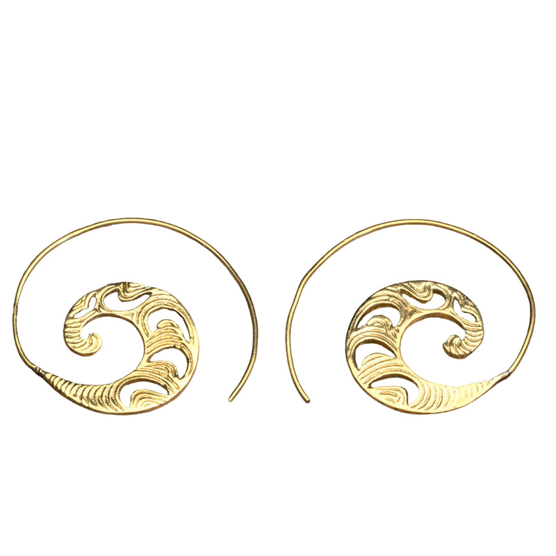 Artisan handmade pure brass, dainty, crescent and swirl patterned spiral hoop earrings designed by OMishka.