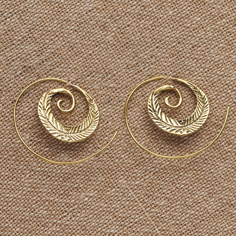 Artisan handmade pure brass, feather spiral hoop earrings designed by OMishka.