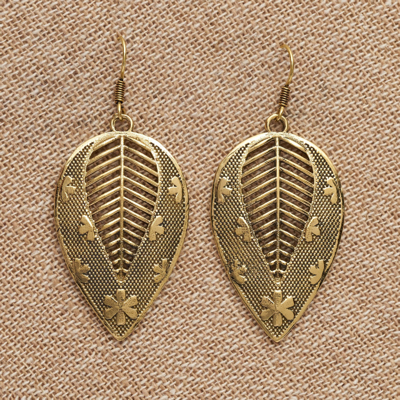 Artisan handmade pure brass, flower and dot patterned, large leaf drop earrings designed by OMishka.