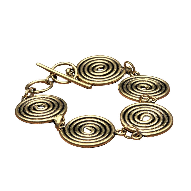 Artisan handmade pure brass, five spiral detail, smooth textured bracelet designed by OMishka.