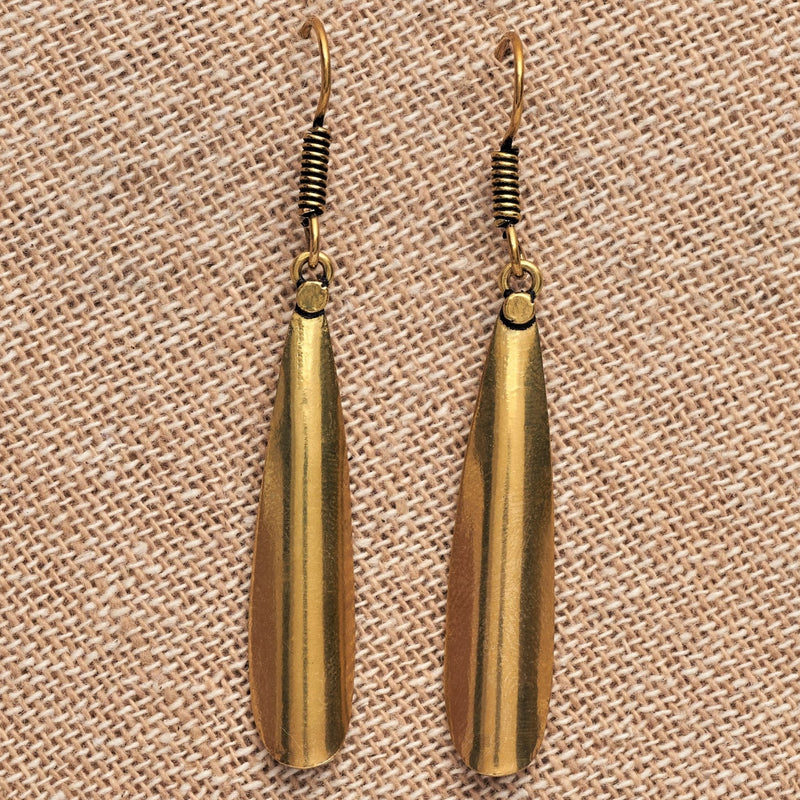 Artisan handmade pure brass, smooth textured, dainty teardrop simple drop hook earrings designed by OMishka.