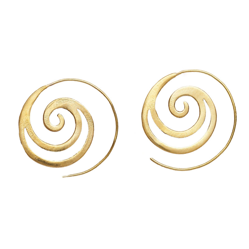 Artisan handmade pure brass, cut out crested wave spiral hoop earrings designed by OMishka.