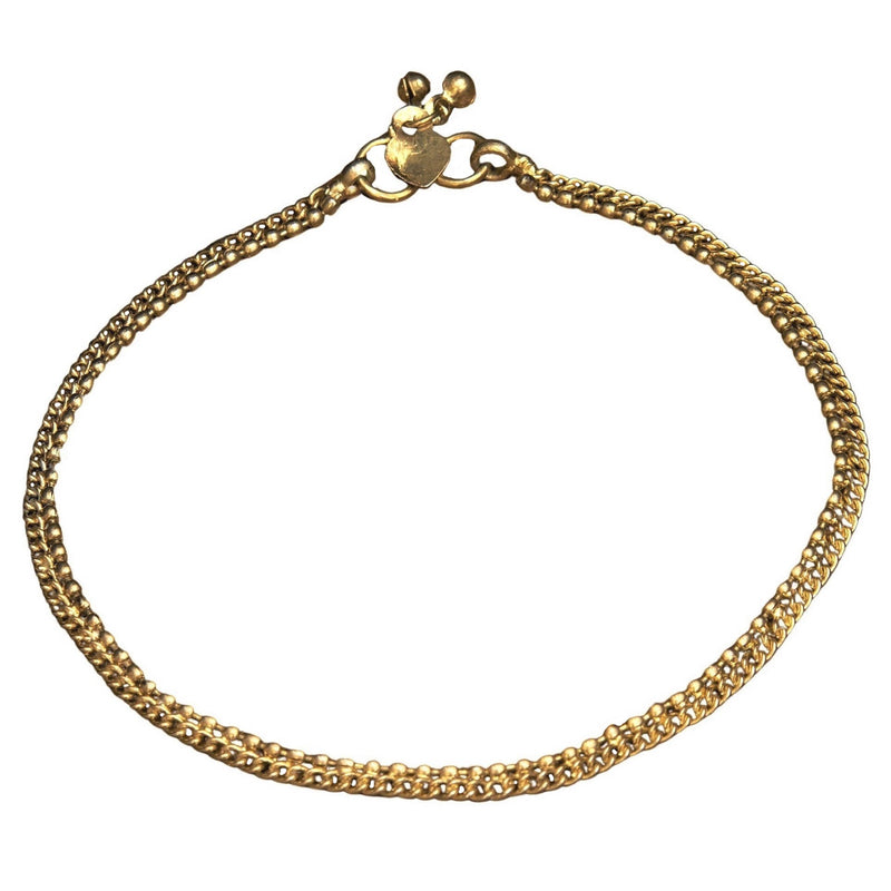 A dainty, artisan handmade, pure brass beaded ankle chain designed by OMishka.