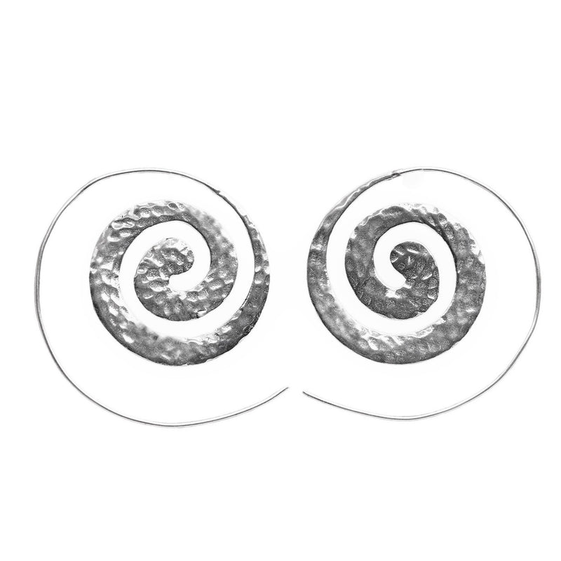 Artisan handmade solid silver, flat, dimpled textured spiral hoop earrings designed by OMishka.